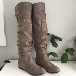 Aldo MicroSuede Flat Under/Over The Knee Boots